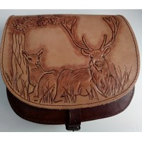 Leather  bag - deer and doe