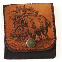 Leather Bullet Wallet - wild boar