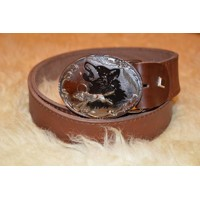 Hunting leather belt Wolf 2